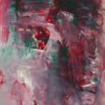 Abstract painting, dark colors, green, red