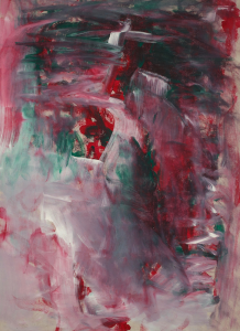 Abstract painting, dark colors, green, white, red, and pink