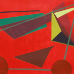 Red background, dark red, green, and yellow geometric shapes connected by a trapezoidal line.