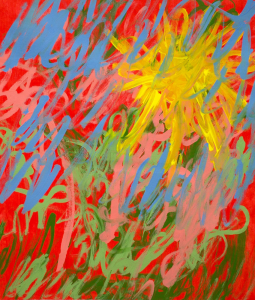 Blue, pink, green, and yellow brush-strokes on a red background