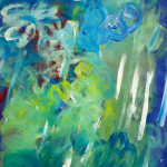 Painting: Shades of blue, green, and white swirl together to create a representation of misty rain.