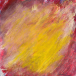 Painting: A blend of magenta, white, and yellow all going the same direction, from the bottom left to the top right of the canvas.