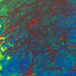 Painting: Deep red thin brushstrokes blended into a green and blue background.