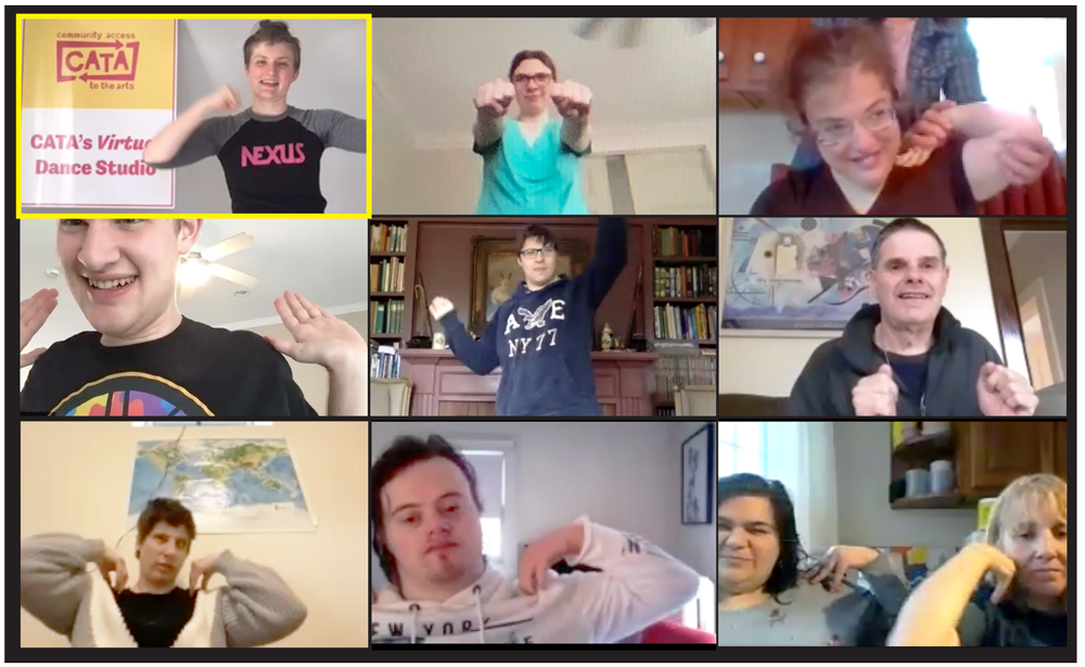 Several people with disabilities dance in their homes
