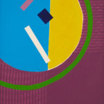 Painting: A large half yellow half blue circle with a bigger thin green circle around it on a purple background.