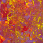 Painting: Layers of red-orange and purple with flecks of yellow and orange polka dots.