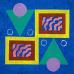 Painting: Mirrored design of two bright pastel triangles, two squares, and multiple circles on a blue background.