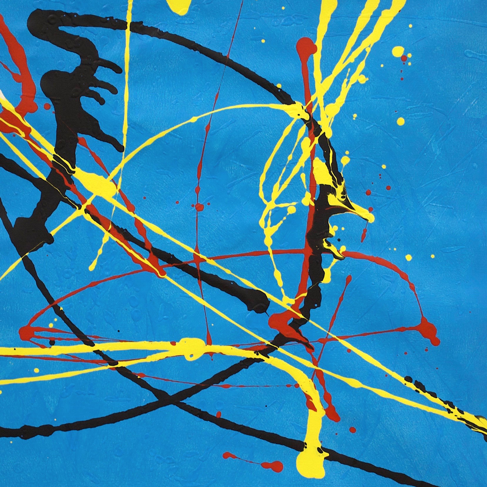 Blue background with yellow, black and red paint splatters.