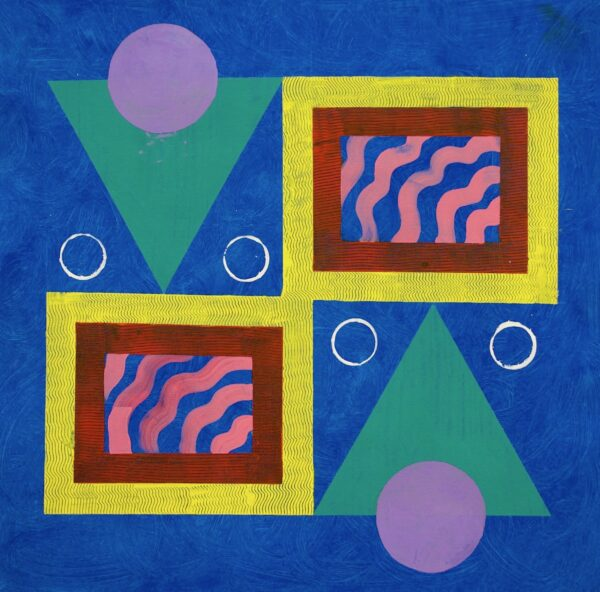 Mirrored design of two bright pastel triangles, two squares, and multiple circles on a blue background.