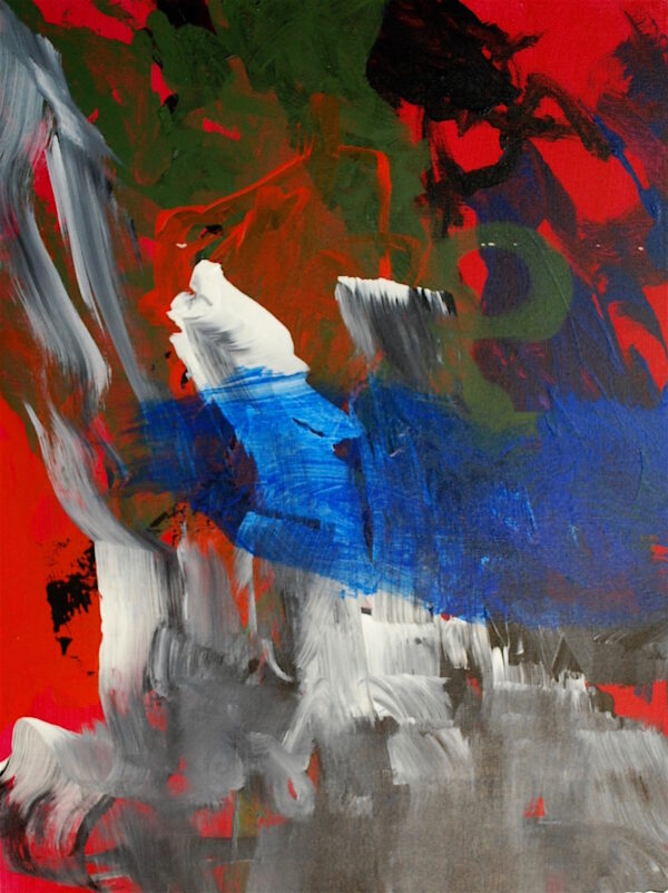 Large grey, white, blue, green, and black strokes on a red background.