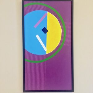 Painting with a large half yellow half blue circle with a bigger thin green circle around it on a purple background, in a thin, black frame.