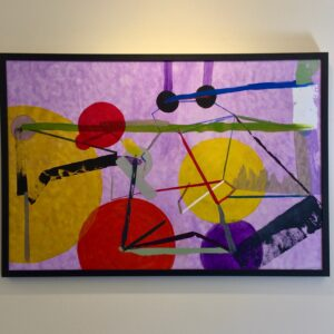 Painting with purple, yellow, orange, and green connected lines and circles on a cloudy purple background. In a thin, black frame.