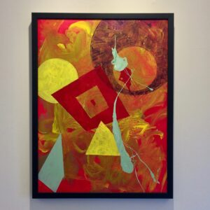 Painting with solid red background with a thin layer of yellow, layered with red, yellow, and light green splatter on top. In a thin, black frame.
