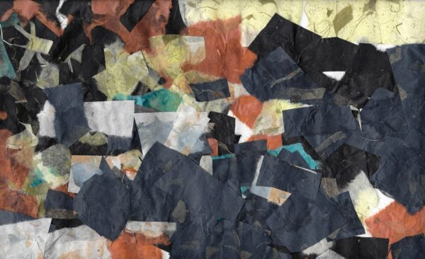 An abstract paper collage of black, yellow, dark blue, orange, and white.