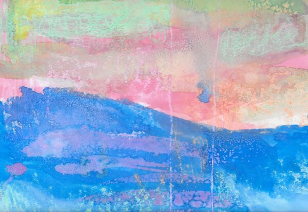 A watercolor painting of a blue ocean and pink sky with swirls of light green.
