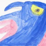 A close-up watercolor painting of a pink and blue bird with a yellow eye.
