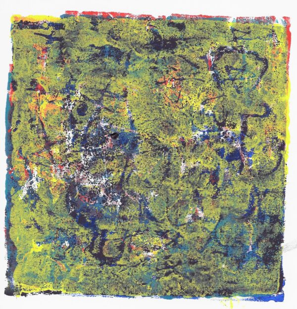 A textural relief print layered with red, blue, purple, and yellow on top.