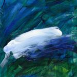 A painting of a deep blue and green background with a large white horizontal brush stroke in the middle.