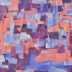 A paper collage of pink, purple and blue rectangles intricately overlapping one another.