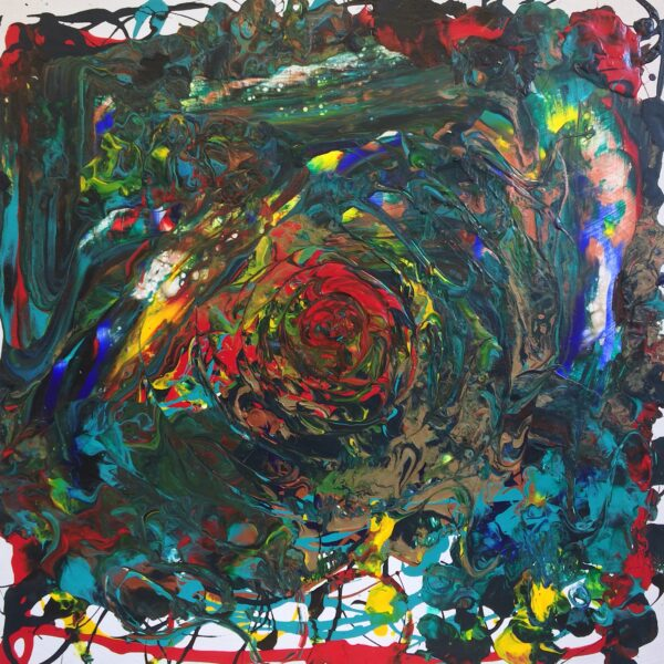 A large abstract painting with dark intricate swirls of red, green, yellow, and blue.