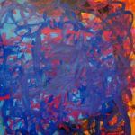 An abstract acrylic painting of blue and magenta brushstrokes interwoven together over a light blue and orange background.
