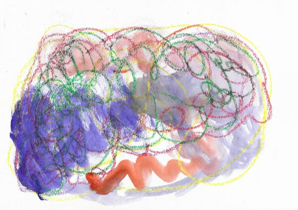 A mixed media piece consisting of a red and green cloud-like drawing filled in with purple and red watercolor.