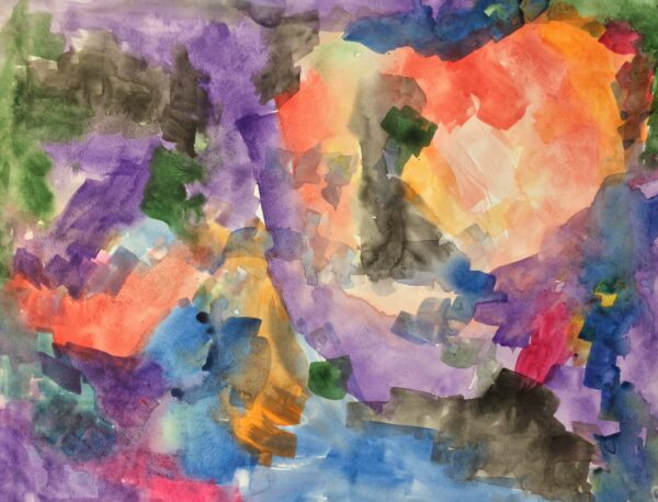 A watercolor painting with delicate swatches of purple, black, and blue radiating from an orange round shape on the top right of the paper.