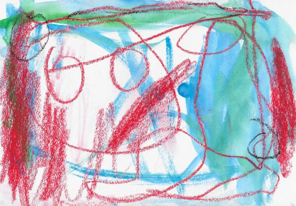 Red oil pastel lines and circles overlay blue-green watercolor brush strokes.