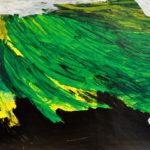 A painting of a black landscape with a green, yellow, and grey background.