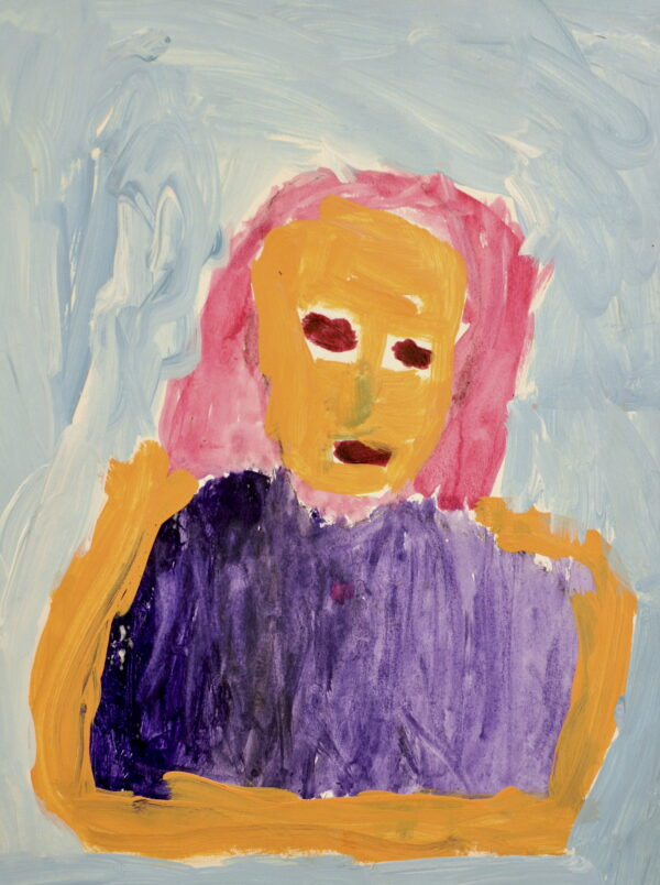A painting of a woman in a sleeveless purple shirt with pink hair against a light blue background.