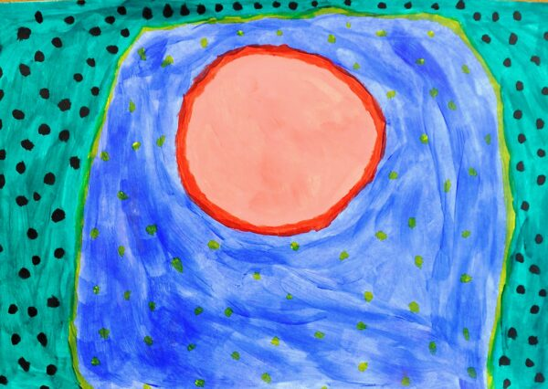 A painting of a pink circle on a blue background surrounded by a turquoise and black polkadot border.
