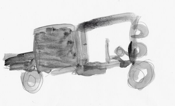 A drawing of a truck filled in with watercolor shades of grey on a white background.