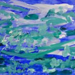 A painting of a blue stormy background with scattered white and turquoise brush strokes on top.