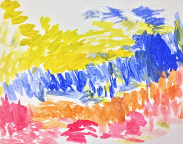 A watercolor pink, blue and orange landscape with a yellow sky.