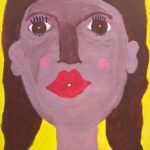 A painting of a woman wearing a pink shirt and makeup, on a yellow background.