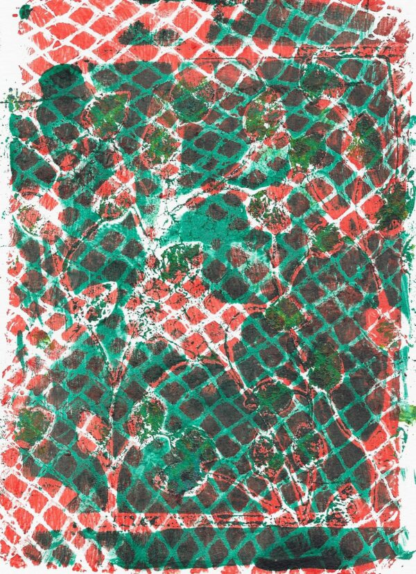 A green and red relief print of a plant behind a mesh texture.