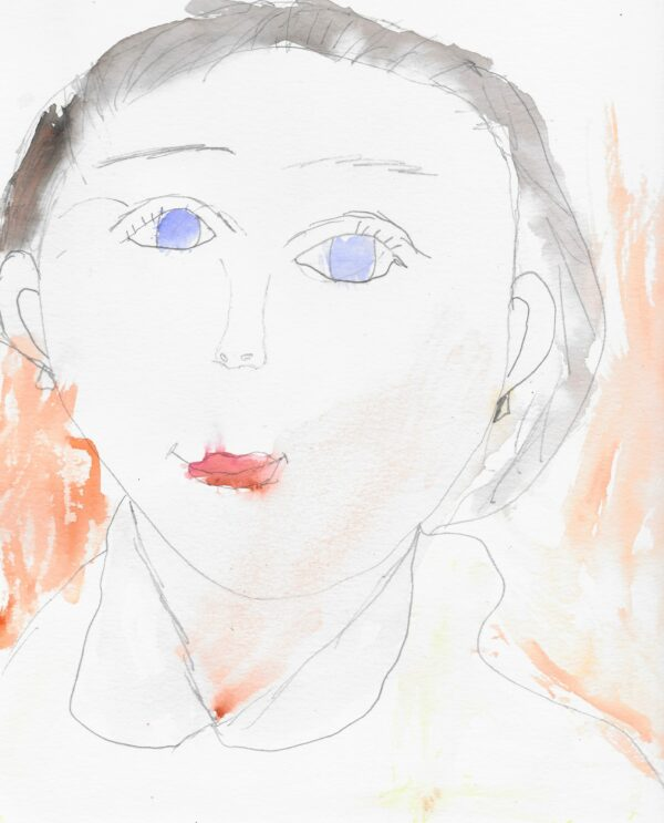 A watercolor portrait of a woman with blue eyes, a white shirt, and lipstick against an orange background.