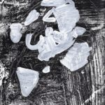 White abstract shapes painted on a textural, black, relief print background.