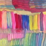 A vibrant painting of vertical and horizontal rainbow stripes.