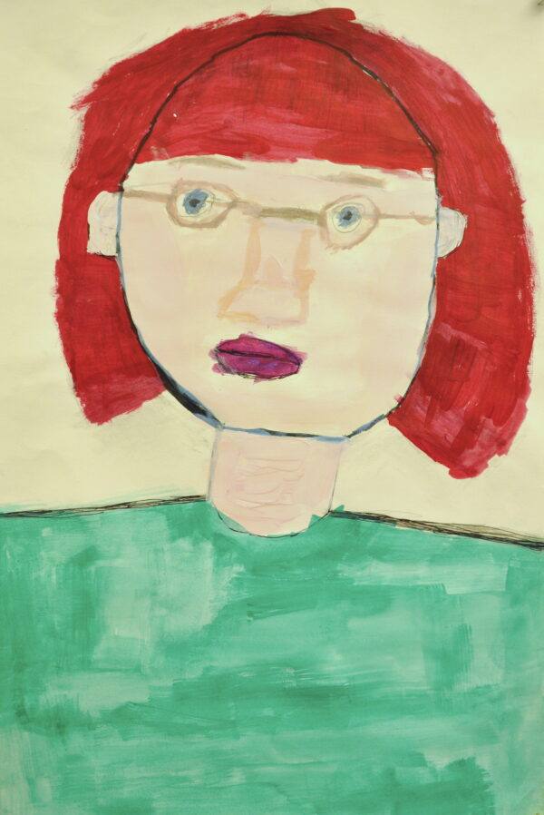 An acrylic portrait of a woman with glasses, red hair, and a turquoise shirt.