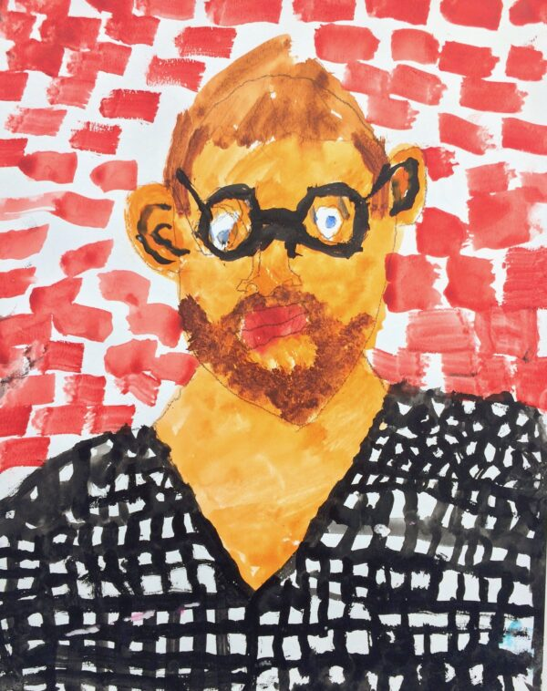 A watercolor portrait of a man with glasses and a beard wearing a black checkered shirt, against a brick background.