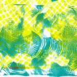 An abstract relief print of blue waves under a yellow mesh pattern.