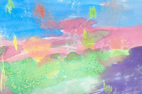 A green and purple landscape under a pink and blue sky, with flecks of green and orange.