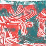 A relief print with red waves and turquoise cut out shapes layered on top.