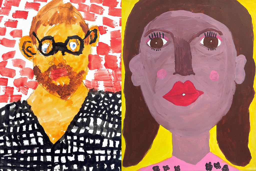 Two colorful self portraits of CATA artists