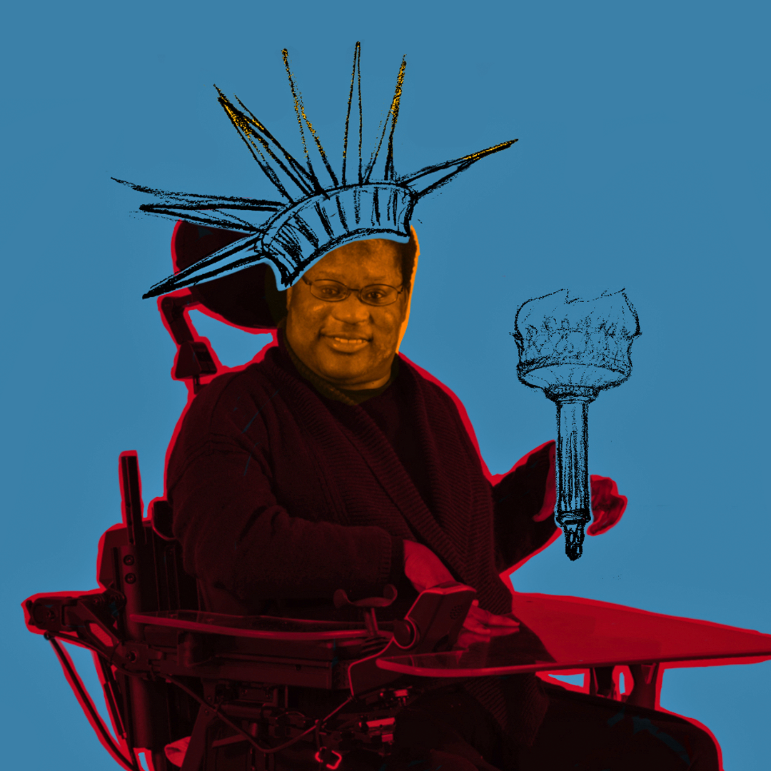 A graphic illustration of CATA artist Katrina in a wheelchair holding a torch and wearing a crown