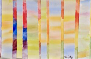 Image: An abstract painting with layered, painted paper in pastel colors over a vibrant background