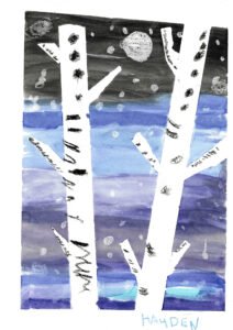 Image: Painting of two barren trees in winter against a snowy sky of black, blue, and purple