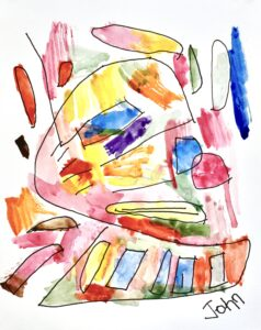 Image: Abstract painting with a figure like a face constructed in brightly colored shapes