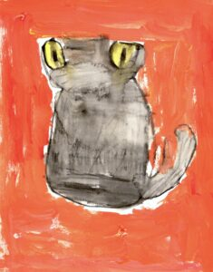 Image: Portrait of a grey cat with yellow eyes against a bright orange background